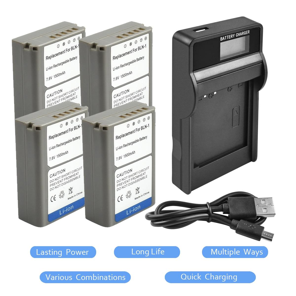 4Packs BLN-1 BLN1 PSBLN1 Battery 7.4V 1500mAh +1Port Battery charger with LED for Olympus E-M5 OM-D E-M1 E-P5 E-M5 II Camera L10