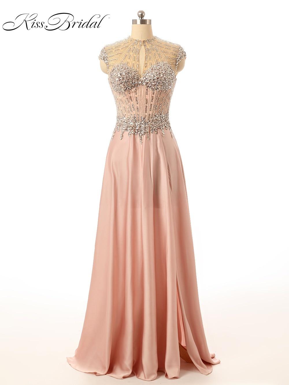 2017 Party   Prom     Dresses   Vestido de Festa O-Neck Sleeveless A-Line Floor Length Keyhole Back Beaded Formal Evening Gowns