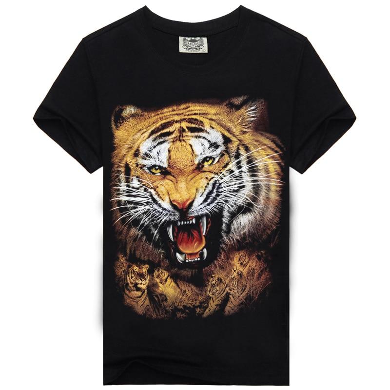 [Для мужчин кость] Для Мужчинs 3D Тигр король печати Футболка s повседневные Черные Хлоп ...