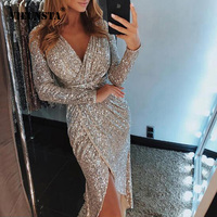 VIEUNSTA 2XL Sexy V neck High Slit Party Dress Women Glitter Sequined Bodycon Dress Autumn Long Sleeve Midi Tunic Dress Vestidos