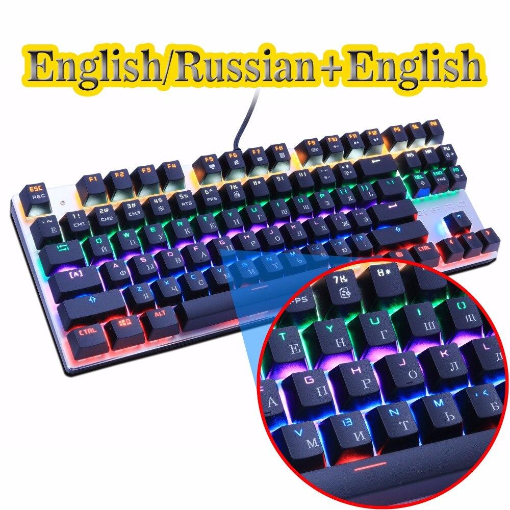 Null Gaming Mechanische Tastatur Anti-geisterbilder 87/104 Led-hintergrundbeleuchtung Rot Schwarz Blau schalter Verkabelt USB Russische aufkleber für PC laptop