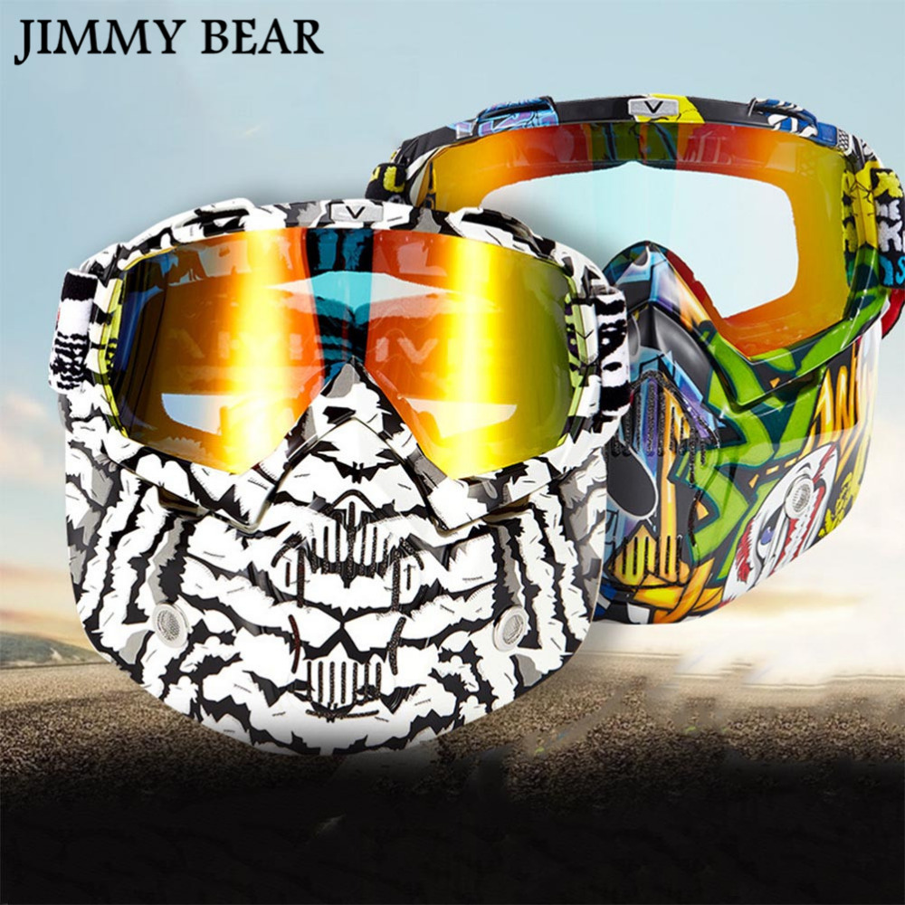 JIMMY BEAR 1 Pcs Tactical Paintball Mask Motorcycle Goggles With Removable Face Mask Airsoft Safety Goggles Mask Protection