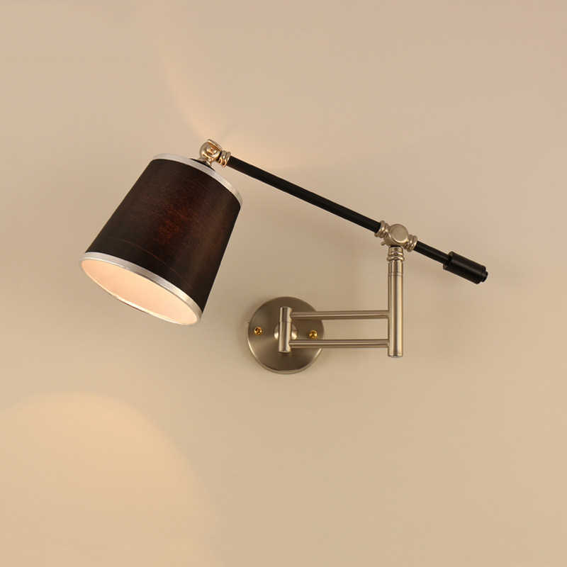 Nordic creative folding wall lamp long arm adjustable light bedroom bedside office study living room mirror light wall sconce