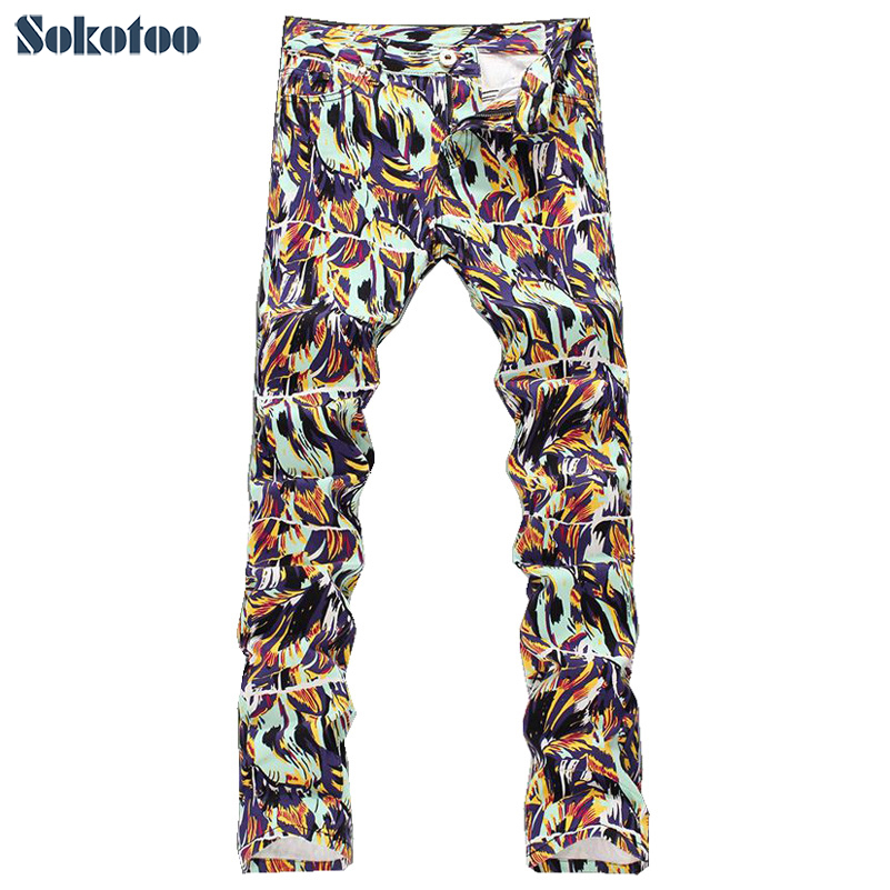 цены  Sokotoo Men's fashion colored drawing print jeans Male slim fit thin denim pants Straight long trousers Free shipping
