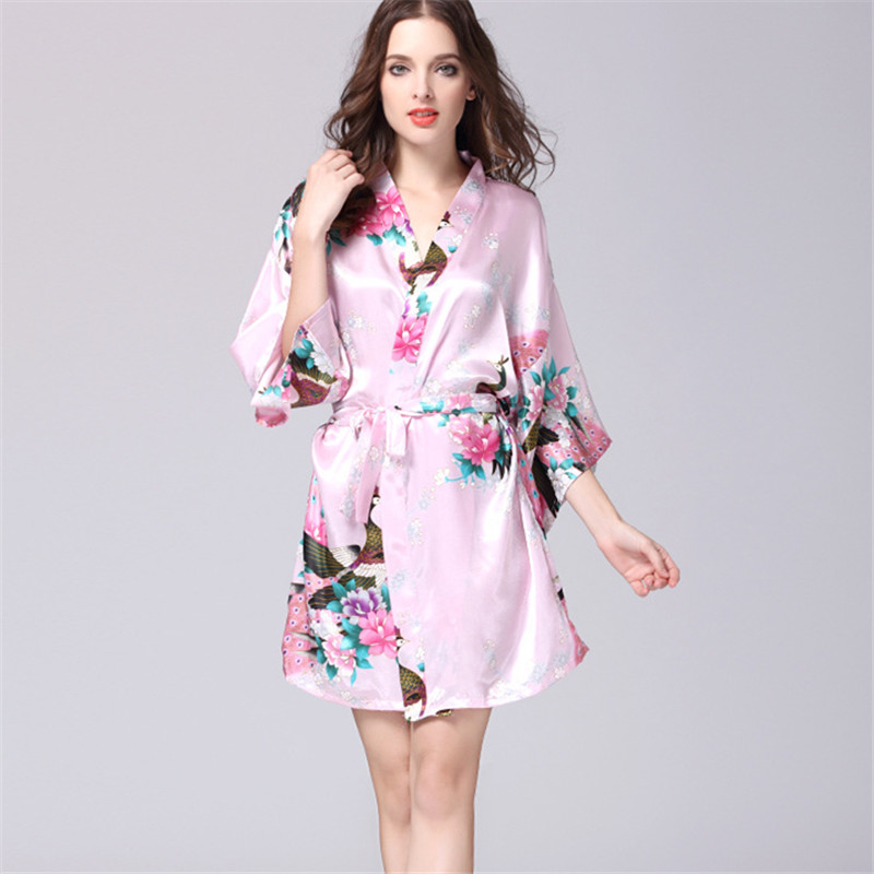 47af27cad S-XXL Pink Short Silk Kimono Robe Satin Kimono Robes for Women Silk  Dressing Gown Wedding Bridesmaid Spa Bath Robes for Women 00