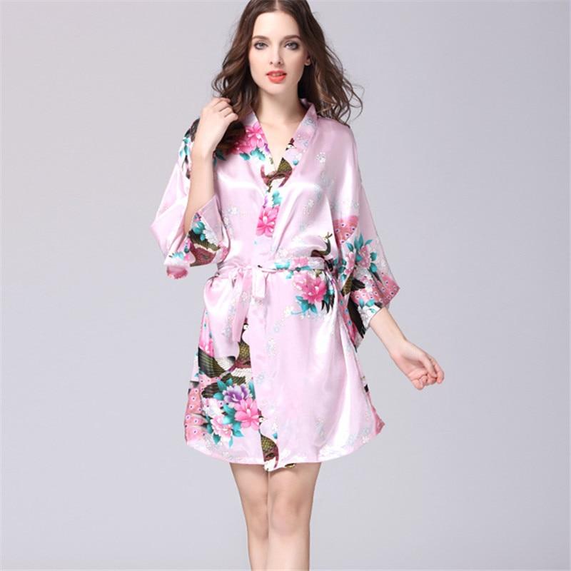 S XXL Pink Short Silk Kimono Robe Satin Kimono Robes For