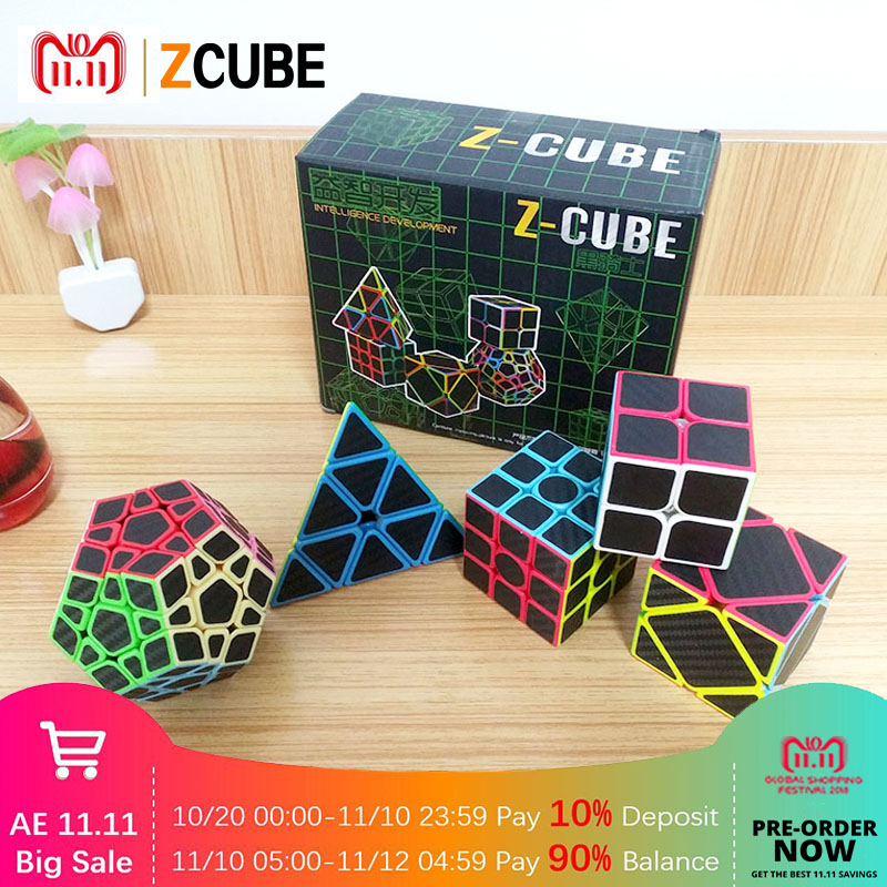 ZCUBE 5pcs/set Colorful Carbon Fiber Magic Cube Set 3x3x3 Speed Puzzle Triangle Dodecahedron Axis Mirror Cube Kids Toy -48 zcube set 4pcs box carbon fiber neo cube dodecahedron 2x2 3x3 4x4 5x5 skew cube speed puzzle toy gift
