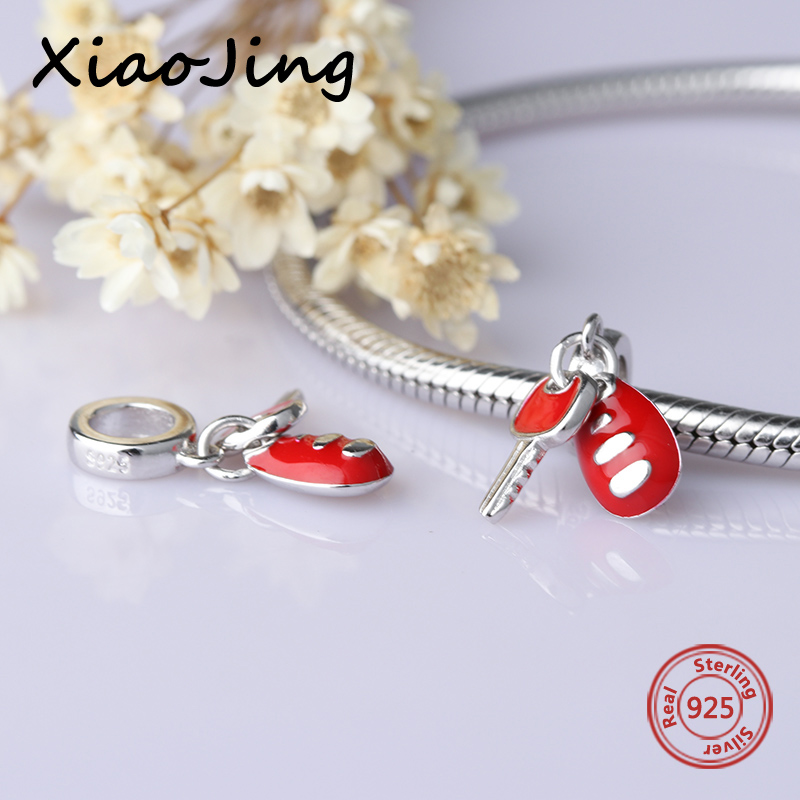 New arrival diy car key with red enamel charms 925 Silver beads Fit Authentic Pandora Charm bracelet fashion jewelry making gift