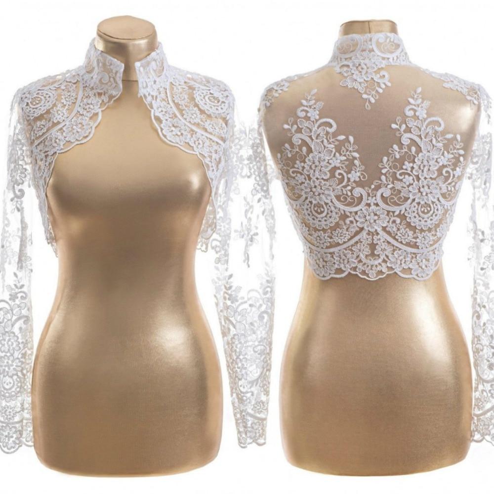 2019 Long Sleeve Bridal Jackets High Neck Lace Appliques Custom Made Wedding Bolero
