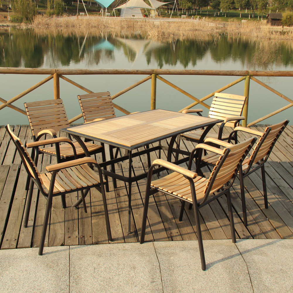 Outdoor furniture wood balcony patio leisure furniture , wrought ...