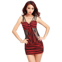 Summer Women Sexy Striped Mini Night Club Wear Mesh Hollow Perspective Waist Backless Dresses Spaghetti Strap Vestido Mujer LR44