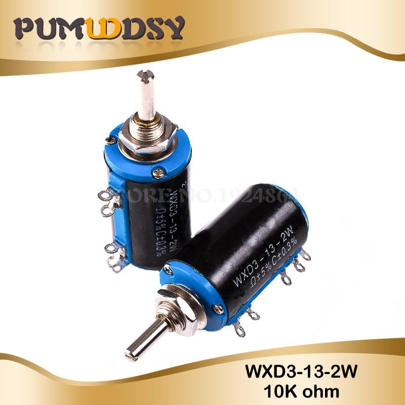 2PCS WXD3-13-2W 10K Ohm WXD3-13 2W Rotary Side Rotary Multiturn Wirewound Potentiometer
