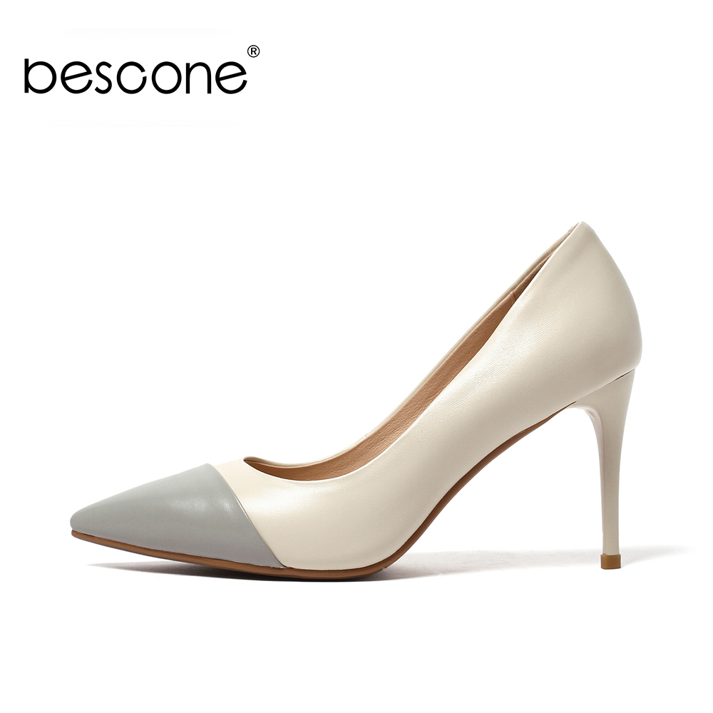 BESCONE 2019 Spring New High quality Cow Leather Shallow Female Pumps Sexy Pointed Toe High Thin