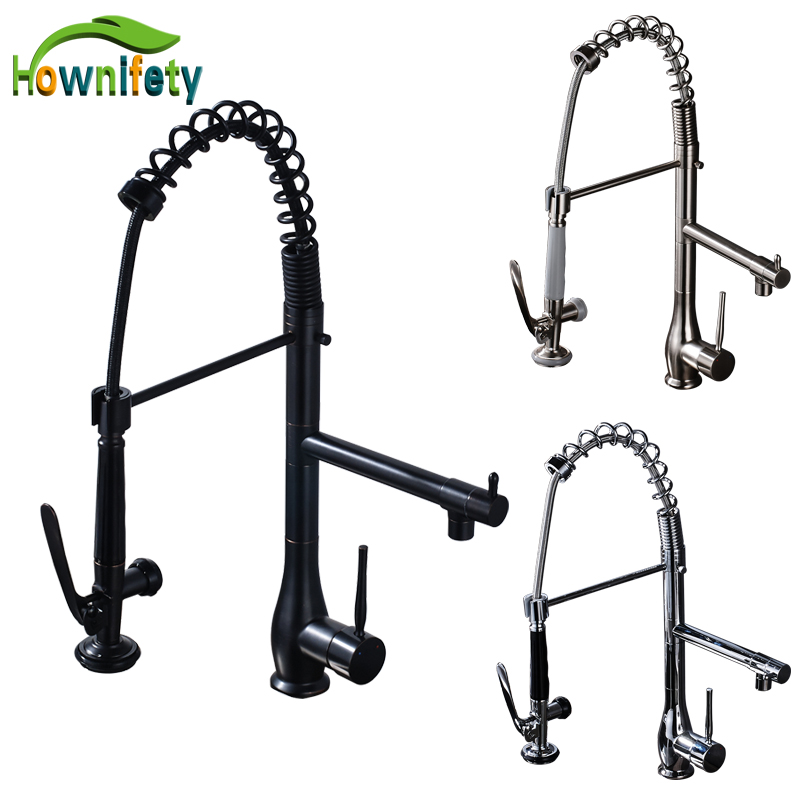 Solid Brass Swivwl Spout Kitchen Sink Faucet Single Handle Mixer Tap Hot and Cold Water Crane Deck Mount kitchen chrome plated brass faucet single handle pull out pull down sink mixer hot and cold tap modern design