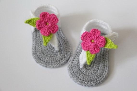 b4de22596b6bb US $7.36 8% OFF|Crochet baby sandals, newborn gladiator sandals,baby girls  slippers shoes, gray, white, flower pink 0 12months, baby shower gift-in ...