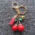 Borla Chaveiro-Lovely Fashion Vermelho Cereja Pérola Banhado A Ouro do Anel Chave Da Corrente Chave Chave Do Carro Titular Saco Das Mulheres Borla pingente de Jóias