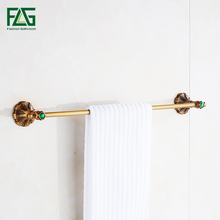 FLG Towel Bars Single Rail Brass Antique Towel Holder Bath Shelf Towel Hanger Wall Mounted Towel Rack Bathroom Accessories G130 стоимость