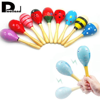Baby Wooden Maraca Hand Rattles Kid Musical Party Educational Child Baby Shaker Musical Instrument Toy For Children Gift P20
