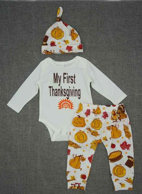 My First Thanksgiving Baby Clothing Set Fall Long Sleeve Bodysuit