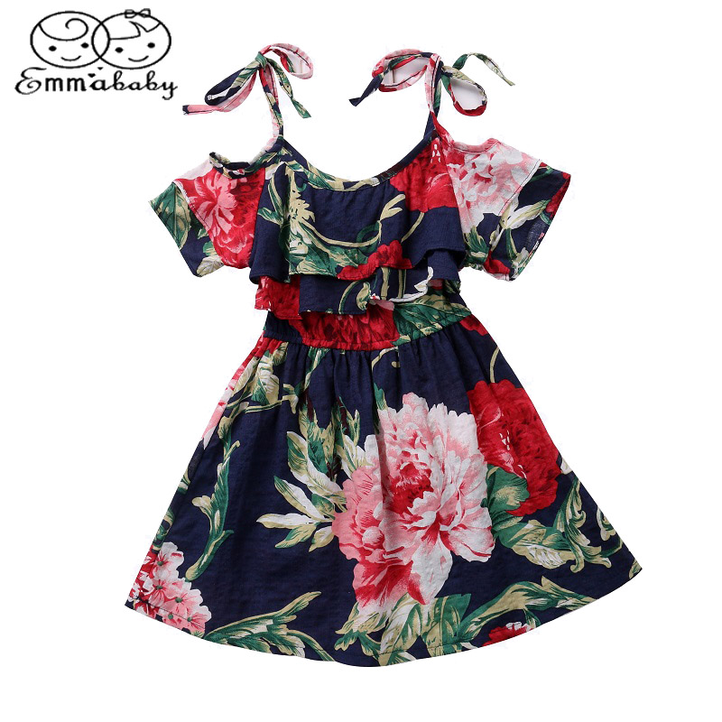 Emmababy Summer Kids Dresses Clothing Baby Girls Off-shoulder Skater Dress Floral Party Dresses 2-7 Year best floral imprint sleeveless skater dress