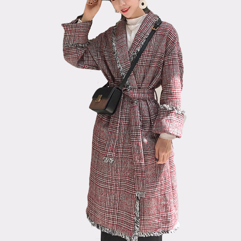 Vintage Woolen   Trench   Coat Plaid Tassel Autumn Winter Turn-down Collar Long Style Overcoat With Belt Long Casaco Feminino
