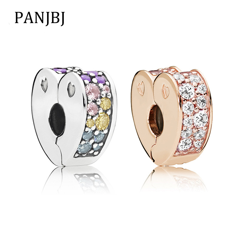 New Free Shipping Silver Plated Bead Alloy Sparkling Arcs Of Love Clip Fit Original Pandora Bracelet Necklace Diy Women Jewelry Beads