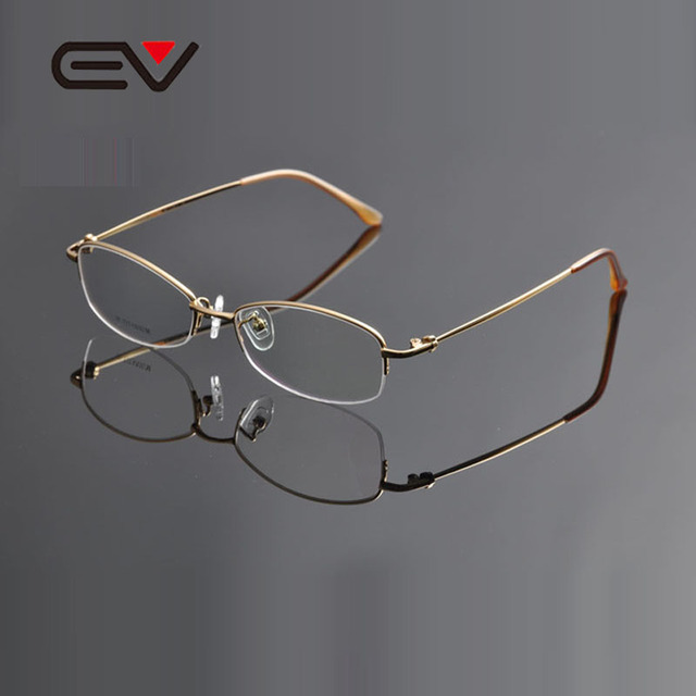 2015 EV High Quality Half-Rim Titanium Eyeglasses Frame Womens Business Optical Myopia Glasses Oculos de Grau Feminino EV0948