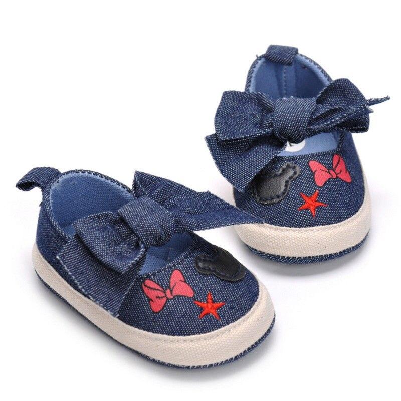 Newborn Baby Girls Boys Soft Sole Crib Toddler Bowknot Denim Shoes Cute Sneaker