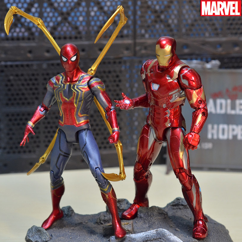 18CM Iron spider Iron Man Thor Action Figure Captain America Winter Soldier Ant-Man  Falcon Infinity War Action Figure Model Toy 超 合金 魂 ゴライオン