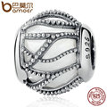 BAMOER Popular 100% 925 Sterling Silver Intertwining Radiance, Clear CZ Beads Charms fit Bracelets Women DIY Accessories PSC046