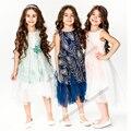 Chndkny flower girl dress kid vestido de niña 2017 del verano del bordado vestidos de partido de la princesa boda ropa tamaño 3-10y