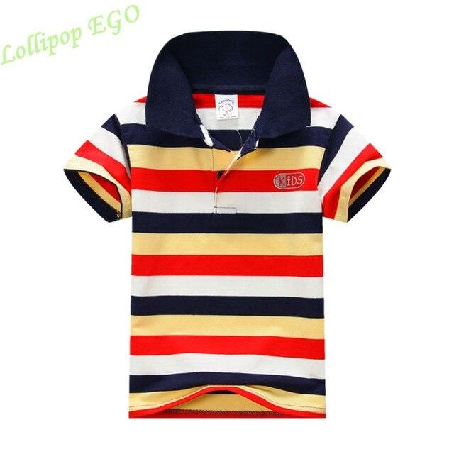 Для маленьких мальчиков летняя хлопковая футболка в полоску с короткими рукавами одежда футболки