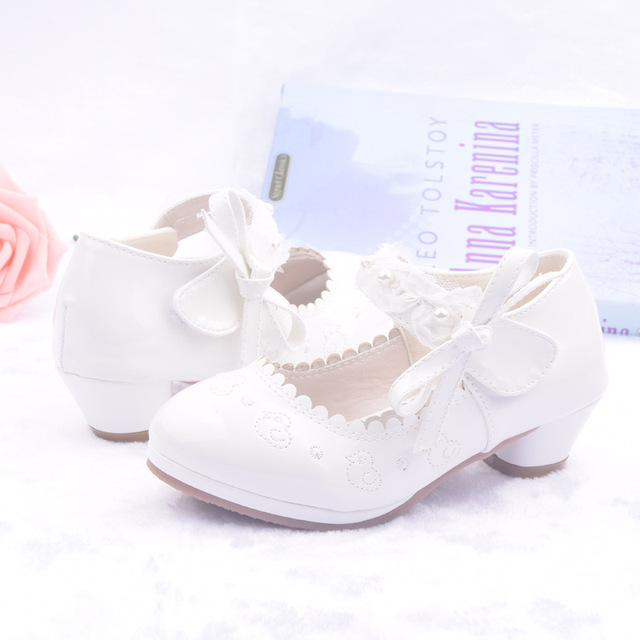 2018 Kids Flower Girls Shoes For Party And Wedding Children'S Leather Shoes Little Girls Fashion Beads Prinsessen Shoes School
