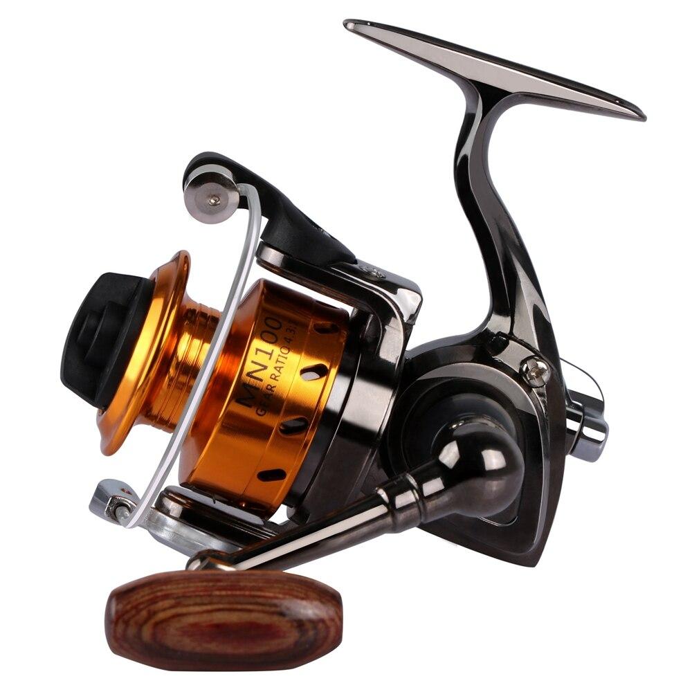Winter Ice Fishing Wheel Mini Fishing Reel Spinning Full Metal MN100 4.3:1 8-10lb Max Drag for Raft/Trolling/Lure Fishing Tackle