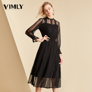 Image 2 - Vimly Elegant Mesh Lace Embroider Women Dress Stand Neck Flare Sleeve Party Dresses Sexy Midi Elastic Waist Hollow Out Dress