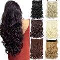 Длинные волнистые синтетические накладные волосы WTB 24 дюйма на клипсе, Термостойкое волокно, 5 шт., черные, синие накладные волосы с эффектом ...