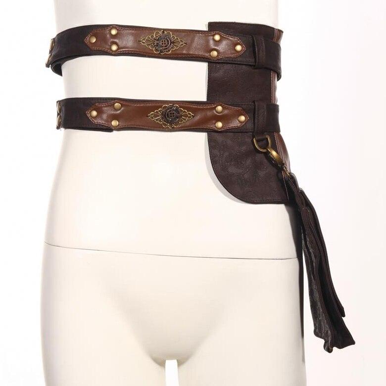 Steampunk rétro gothique femmes ceinture en cuir avec grand Pack Rock Punk dame ceinture ceintures décontracté détachable multi-usages ceintures