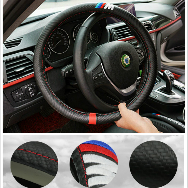 Luxurious Steering Wheel Cover 38CM/15inch Steering-wheel For BMW X5 E90 E60 F30 F10 F15 E63 E64 E65 E86 E89 E85 E91 E92 E93 F02 runba ice silk steering wheel cover sets with red thread