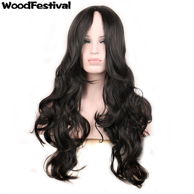 Foto reale resistente al calore 75 cm rosso parrucca riccia parrucche  sintetiche bionda lunga parrucca nera a96b080e432c