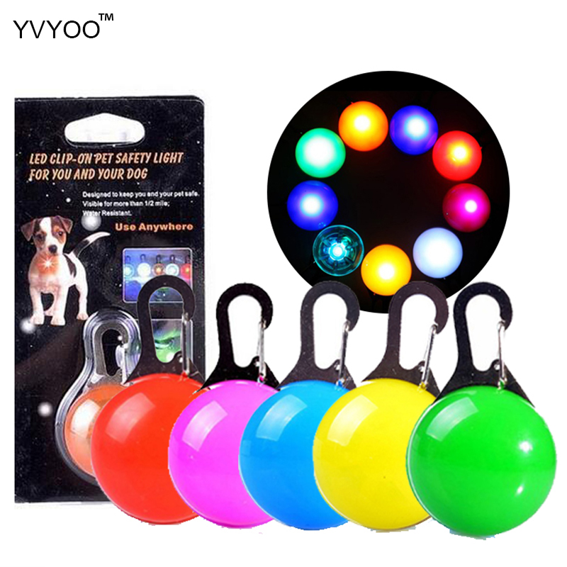 Yvyoo Pet Dog Led Glowing Pendant Necklace Safety Puppy Cat Night Light Flashing Collar Pet Luminous Bright Light Multicolor C04