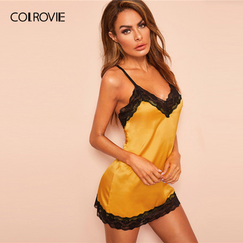 COLROVIE Yellow Lace Trim Satin Criss Cross Satin Sexy Night Dress With Thong Women 2019 Summer Sleeveless Backless Nightgowns 3
