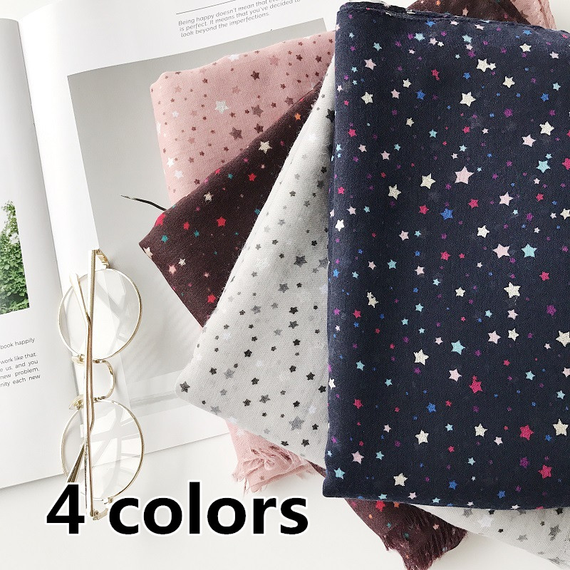 4 colors Fashion winter scarf stars pattern shawl fringe Muslim hijab scarves headbands soft foulard pretty printed pashmina