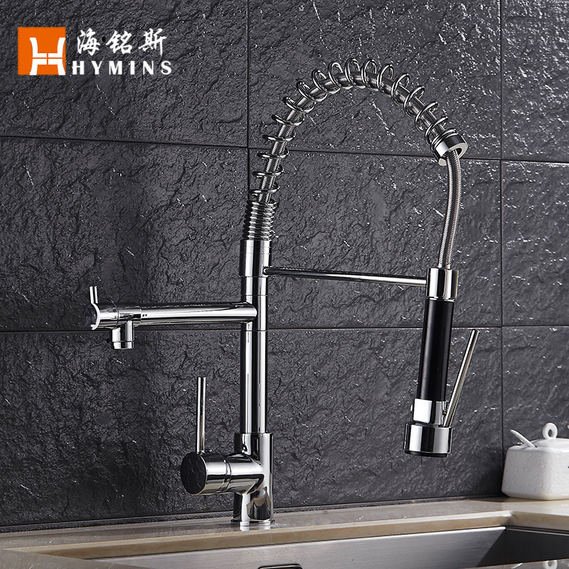 smoked pull telescopic sink to wash the dishes, spring kitchen faucet tap double cold hot water learn to cook chinese dishes cold dishes chinese