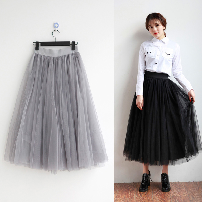 retail top quality black grey white long tulle skirt women