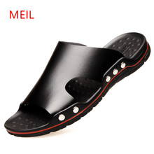 Mens Slides Slippers Outdoor Men Leather Shoes Man Beach for Casual Breathable Plaj Terlik