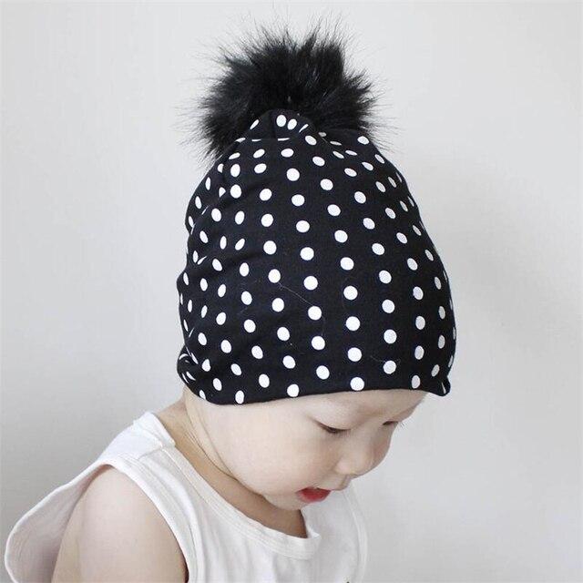 Baby Hat Artificial Fox Fur Baby Boy Cap Dots Printing Pompom hat For Girls  Autumn Children Beanies Accessories 2766bc54064c