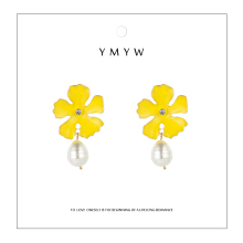 YMYW Trendy Za Design Sweet Romantic Colorful Enamel Flower Dangle Earrings Baroque Pearls pendientes mujer moda 2019 Jewelry