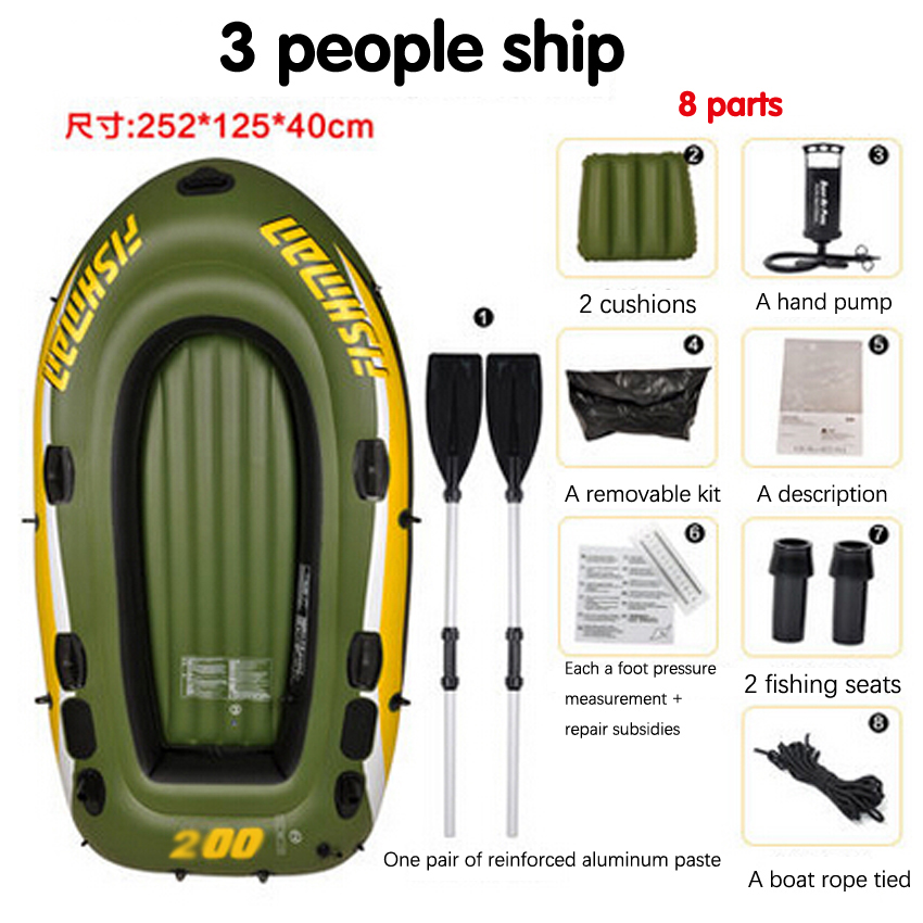 1 PC 3 person kayak thick rubber boats inflatable boat fishing boat kayak assault hovercraft boats 3 person angling boat drifting dinghy inflatable boat dinghy thickened hovercraft kayak pvc fishing boat assault