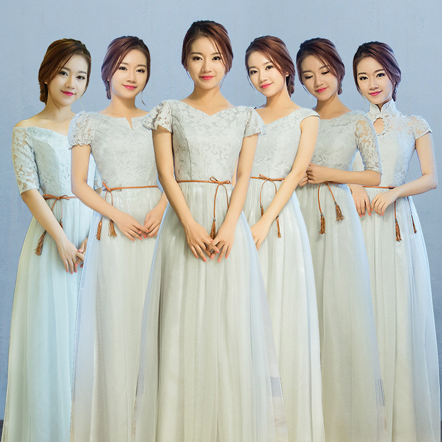 Light Blue Lace Top Chiffon Long Bridesmaid Dresses With Short Sleeves  Pleats Ruffles Floor A-line Maid of Honor Gowns b6ec8a416ed9