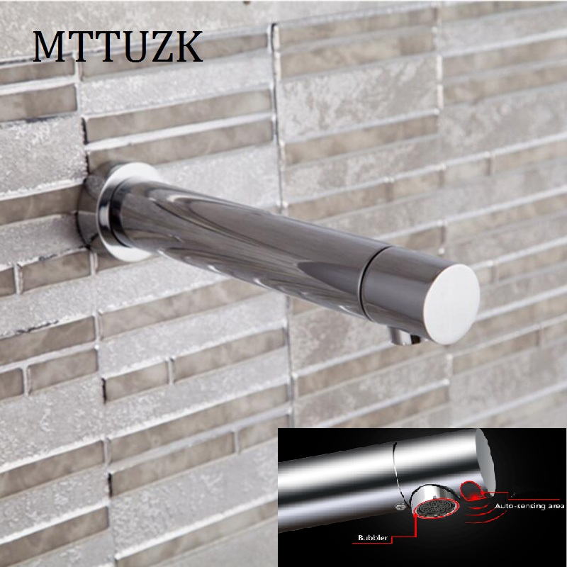 MTTUZK Chrome Brass Wall DC6V Battery Power Integrated type Automatic Sensor Tap Bathroom Wash Basin Touchless